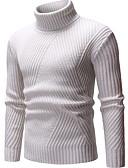 baratos Suéteres & Cardigans Masculinos-Homens Sólido Pulôver Camisola Jumper Preto / Bege / Cinzento M / L / XL
