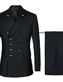 preiswerte Anzüge-Marineblau / Schwarz Solide Weite Passform Baumwolle / Polyster Anzug - Steigendes Revers Zweireihig 6 Knöpfe / Anzüge