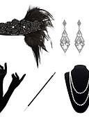 povoljno Stare svjetske nošnje-The Great Gatsby Čarlston 1920s Gatsby Setovi dodataka za kostime Povorka maski Žene Kostim Narukvica s perlama Igazgyöngy nyaklánc Crn Vintage Cosplay Party Halloween / 1 Ogrlica / 1 par naušnica