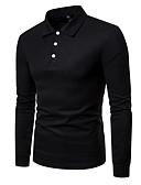 olcso Férfi pólók-Állógallér Férfi Ing - Egyszínű Rubin