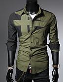 ราคาถูก เสื้อเชิ้ตผู้ชาย-สำหรับผู้ชาย เชิร์ต ลายบล็อคสี ทับทิม / แขนยาว