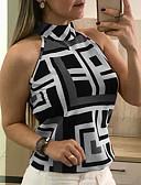 Χαμηλού Κόστους Φορέματα-Γυναικεία Μεγάλα Μεγέθη T-shirt Αργίες Σέξι Γεωμετρικό Δένει στο Λαιμό Ρουμπίνι