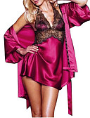 ราคาถูก เสื้อคลุม-สำหรับผู้หญิง ลูกไม้ / ตารางไขว้ ซูเปอร์เซ็กซี่ สไตลตุ๊กตาเบบี้ / เสื้อคลุม / ซาตินและผ้าไหม เสื้อนอน สีพื้น สีดำ สีม่วง สีบานเย็น L XL XXL / คล้องไหล่