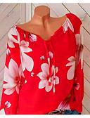 ราคาถูก เสื้อเอวลอยสำหรับผู้หญิง-สำหรับผู้หญิง ขนาดพิเศษ เชิร์ต ฮอลิเดย์ ลวดลายดอกไม้ / ลายพิมพ์ / ไหล่ตก คอวี ลายดอกไม้ สีดำ / ฤดูใบไม้ผลิ / ฤดูร้อน