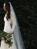 ราคาถูก ม่านสำหรับงานแต่งงาน-ชั้นเดียว รูปแบบสไตล์ยุโรป ผ้าคลุมหน้าชุดแต่งงาน ผ้าคลุมหน้าในโบสถ์ กับ ของประดับด้วยลูกปัด ฝ้าย / ไนลอนด้วยคำแนะนำของการยืด