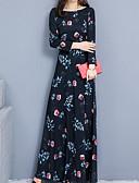 Χαμηλού Κόστους Φορέματα-Γυναικεία Βασικό Κινεζικό στυλ Swing Φόρεμα - Γεωμετρικό, Στάμπα Μακρύ