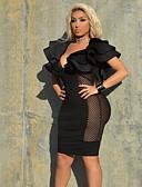 ราคาถูก เดรสพลัสไซซ์-สำหรับผู้หญิง พื้นฐาน เข้ารูป ปลอก แต่งตัว - ระบาย ตารางไขว้, สีพื้น เหนือเข่า คอวีลึก