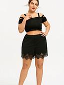 ราคาถูก กางเกงขาสั้น-สำหรับผู้หญิง ขนาดพิเศษ ทุกวัน เพรียวบาง กางเกง Chinos กางเกง - สีพื้น สีดำ L XL XXL
