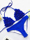 billige Bikinis-Dame Sporty Grunnleggende Rød Gul Fuksia Grime G-streng Bikinikjole Badetøy - Ensfarget Åpen rygg Blondér S M L Rød