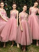 ราคาถูก Special Occasion Dresses-A-line อัญมณี ต่ำกว่าเข่า Tulle เพื่อนเจ้าสาวชุด กับ เข็มกลัด โดย LAN TING Express