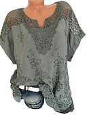 Χαμηλού Κόστους T-shirt-Γυναικεία Μεγάλα Μεγέθη T-shirt Μονόχρωμο Λαιμόκοψη V Δαντέλα Μαύρο