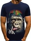 baratos Camisetas & Regatas Masculinas-Homens Camiseta Estampado, Animal Decote Redondo Azul