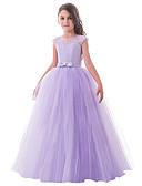 povoljno Haljine za male djeveruše-Princeza Dugi Duljina Haljina za djevojčicu s cvijećem - Čipka / Til Bez rukávů Ovalni izrez s Mašna / Čipka