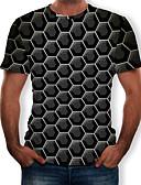 baratos Camisetas & Regatas Masculinas-Homens Tamanho Europeu / Americano Camiseta Estampado, 3D Decote Redondo Preto