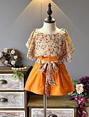ราคาถูก ชุดเด็กผู้หญิง-เด็ก เด็กผู้หญิง Street Chic รูปเรขาคณิต แขนสั้น ปกติ ชุดเสื้อผ้า สีเหลือง