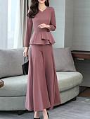 ราคาถูก กางเกงผู้หญิง-สำหรับผู้หญิง Street Chic / Sophisticated ชุด - สีพื้น กางเกง ระบาย คอวี