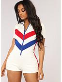 זול חליפות שני חלקים לנשים-אביב קיץ סתיו XL XXL XXXL פס קולור בלוק, Rompers ישר פול לבן שחור צווארון V סגנון רחוב בגדי ריקוד נשים / חורף