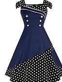 povoljno Vintage kraljica-Žene Elegantno Korice Haljina - Print, Na točkice U izrez Do koljena