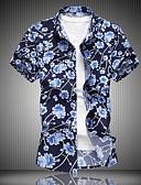 billige Herreskjorter-Klassisk krage Store størrelser Skjorte Herre - Blomstret, Trykt mønster Blå / Kortermet