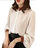 Χαμηλού Κόστους Πουκάμισο-Γυναικεία Μεγάλα Μεγέθη Μπλούζα Συνδυασμός Χρωμάτων Κολάρο Πουκαμίσου Λεπτό Patchwork Λευκό