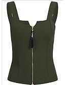 ราคาถูก เสื้อเชิ้ตสำหรับสุภาพสตรี-สำหรับผู้หญิง ขนาดพิเศษ เสื้อกล้าม สาย เพรียวบาง สีพื้น ทับทิม