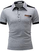 povoljno Muške polo majice-Polo Muškarci Pamuk Color block Kragna košulje Kolaž Crn