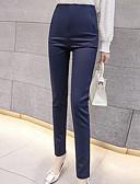 ราคาถูก กางเกงผู้หญิง-สำหรับผู้หญิง พื้นฐาน สูท กางเกง - สีพื้น เอวสูง ฝ้าย ขาว สีดำ สีน้ำเงินกรมท่า L XL XXL