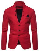ราคาถูก เสื้อเชิ้ตผู้ชาย-สำหรับผู้ชาย เสื้อคลุมสุภาพ, สีพื้น คอแสตนด์ ฝ้าย / เส้นใยสังเคราะห์ ทับทิม / สีน้ำเงินกรมท่า / สีกากี / เพรียวบาง