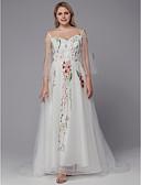 billiga Brudklänningar-A-linje Smala axelband Svepsläp Tyll Långärmad Vacker i svart Bröllopsklänningar tillverkade med Applikationsbroderi / Broderad 2020