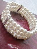 Χαμηλού Κόστους Αξεσουάρ για τα μαλλιά των γυναικών-Γυναικεία Βραχιόλι με χάντρες Wrap Βραχιόλια Ștrasuri Γλυκός Κομψό Απομίμηση Μαργαριταριού Βραχιόλι Κοσμήματα Λευκό Για Γάμου Πάρτι