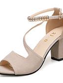 cheap Women's Pants-Women's Heels Open Toe Beading Leatherette Basic Pump Summer Green / Black / Beige / EU39