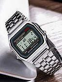 baratos Relógios-Homens Relógio Esportivo Digital Prata Relógio Casual Digital Casual - Prata / Aço Inoxidável