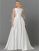 povoljno Vjenčanice-A-kroj Ovalni izrez Srednji šlep Saten Izrađene su mjere za vjenčanja s Gumbi po LAN TING BRIDE®