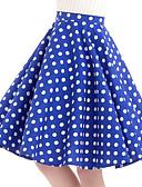 ราคาถูก กระโปรงผู้หญิง-สำหรับผู้หญิง Swing วินเทจ ฝ้าย กระโปรง - ลายจุด สีน้ำเงิน L XL XXL