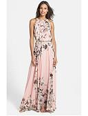 ราคาถูก Special Occasion Dresses-A-line อัญมณี ลากพื้น ชิฟฟอน แต่งตัว กับ ริบบิ้น โดย LAN TING Express