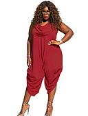 ราคาถูก จั๊มสูทและเสื้อคลุมสำหรับผู้หญิง-สำหรับผู้หญิง Street Chic สีดำ ไวน์ ขาว ฮาเร็ม ชุด Jumpsuits Onesie, สีพื้น XL XXL XXXL