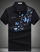 billige Herreskjorter-Bomull Skjortekrage Polo Herre - Ensfarget Hvit