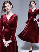 olcso Koszorúslány ruhák-A-vonalú V-alakú Midi Bársony Koszorúslány ruha val vel Ráncolt által LAN TING Express