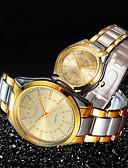 povoljno Kvarcni satovi-Par je Sat uz haljinu Zlatni sat Kvarc odgovarajući Njegova i Njezina Nehrđajući čelik Zlatna 30 m Vodootpornost New Design Casual sat Analog Ležerne prilike Moda - Zlato Obala Crn