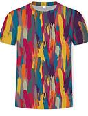 baratos Camisetas & Regatas Masculinas-Homens Camiseta Estampado, Arco-Íris Algodão Decote Redondo Arco-íris