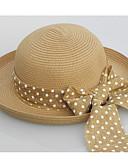 ราคาถูก หมวกสตรี-สำหรับผู้หญิง สีพื้น Straw วินเทจ-หมวกสาน ขาว ผ้าขนสัตว์สีธรรมชาติ สีกากี