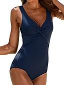 ราคาถูก ชุดว่ายน้ำแบบวันพีช-สำหรับผู้หญิง สีดำ ทับทิม สีแดงชมพู ชิ้นหนึ่ง ชุดว่ายน้ำ - สีพื้น XXL XXXL XXXXL สีดำ