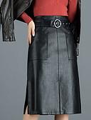 ราคาถูก ชุด-สำหรับผู้หญิง รูปตัว เอ กระโปรง - สีพื้น สีดำ M L XL / PU / เพรียวบาง