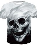 ราคาถูก เสื้อยืดและเสื้อกล้ามผู้ชาย-สำหรับผู้ชาย ขนาดพิเศษ เสื้อเชิร์ต คอกลม กระโหลก สีดำ