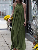 Χαμηλού Κόστους Φορέματα-Γυναικεία Αργίες Παραλία Δαντέλα Τουνίκ Αμπάγια Φόρεμα Δαντέλα Σιφόν Μακρύ Δένει στο Λαιμό