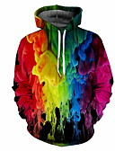 billige Hettegensere og gensere til herrer-Herre Fritid Hattetrøje Regnbue
