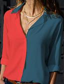 povoljno Ženski džemperi-Veći konfekcijski brojevi Majica Žene Color block Kragna košulje Bijela