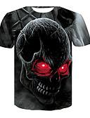 ราคาถูก เสื้อยืดและเสื้อกล้ามผู้ชาย-สำหรับผู้ชาย ขนาดพิเศษ เสื้อเชิร์ต ลายพิมพ์ คอกลม กระโหลก สีดำ