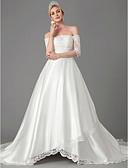povoljno Vjenčanice-A-kroj Spuštena ramena Dugi šlep Čipka / Saten Izrađene su mjere za vjenčanja s Aplikacije po LAN TING BRIDE®