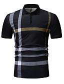 ราคาถูก เสื้อโปโลสำหรับผู้ชาย-สำหรับผู้ชาย Polo คอเสื้อเชิ้ต ลายแถบ สีดำ